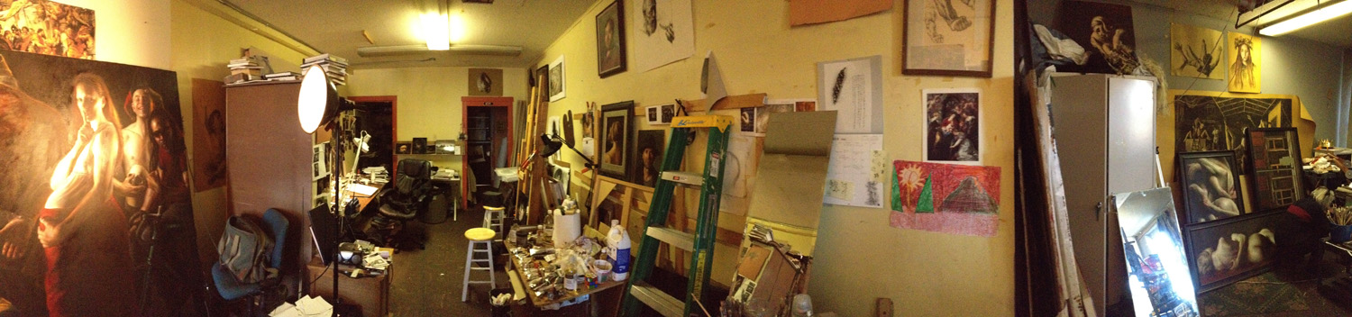 Panoramic iPhone image of the studio, facing north.