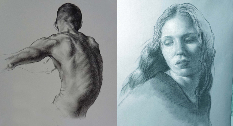 Two drawings of a head and torso