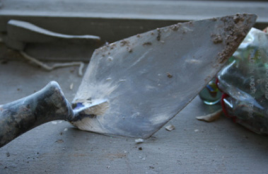 Close-up of trowel on windowsill